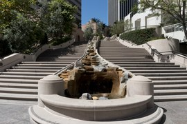 The Bunker Hill Steps linking Hope Street to Fifth Street in Los Angeles